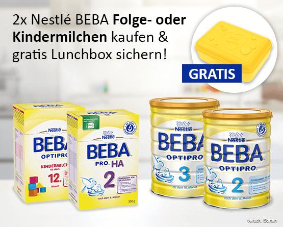 2x Nestlé Beba Folge- oder Kindermilchen kaufen und eine Lunchbox gratis erhalten - zum Bestellen hier klicken!