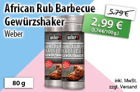 Angebot: Weber African Rub Barbecue Gewürzshaker (80 g), Streichpreis 5,79 Euro, Angebotspreis 2,99 Euro, zzgl. Versand,inkl. MwSt. - zum Bestellen hier klicken