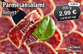 Angebot: Reinert Parmesansalami, Streichpreis 3,98 Euro, Angebotspreis 2,99 Euro, zzgl. Versand, inkl. MwSt. - zum Bestellen hier klicken