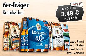Krombacher, 6er Träger, verschiedene Sorten, Streichpreis: 3,79 Euro, Angebotspreis: 3,49 Euro, inkl. MwSt., zzgl. Versand - zum Bestellen hier klicken!
