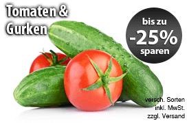 Angebot: Bis zu 25 Prozent auf Tomaten und Gurken, verschiedene Sorten, inkl. MwSt., zzgl. Versand - zum Bestellen hier klicken