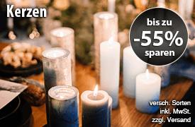 Angebot: Kerzen bis zu 55% reduziert, inkl. MwSt., zzgl. Versand - zum Bestellen hier klicken