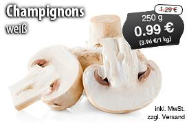 Angebot: Goldmarie Weiße Champignons mittel (250 g), Streichpreis: 1,29 Euro, Angebotspreis: 0,99 Euro, inkl. MwSt., zzgl. Versand - zum Bestellen hier klicken