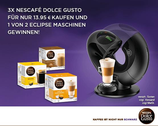 3 Dolce Gusto Artikel für 13,95 Euro kaufen und am Gewinnspiel teilnehmen  - zum Bestellen hier klicken!