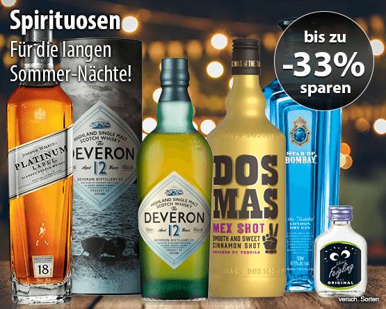 Für die langen Sommer-Nächte! Bis zu 33% auf ausgewählte Spirituosen, inkl. MwSt., zzgl. Versand - zum Bestellen hier klicken