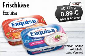 Angebot: Exquisa Frischkaese, ab 175g, verschiedene Sorten, Streichpreis 1,19 Euro, Angebotspreis 0,89 Euro, zzgl. Versand, inkl. MwSt. - zum Bestellen hier klicken