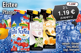 Angebot: Pfanner Eistee, 2 L, verschiedene Sorten, Streichpreis 1,69 Euro, Angebotspreis 1,19 Euro, zzgl. Versand, inkl. MwSt. - zum Bestellen hier klicken