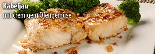 Rezeptempfehlung für Sie: Kabeljau mit cremigem Ofengemüse - zum Bestellen hier klicken!