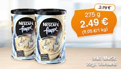 Angebot: Nescafé Frappé Typ Eiskaffee (275 g), Streichpreis: 2,79 Euro, Aktionspreis: 2,49 Euro, inkl. MwSt., zzgl. Versand - zum Bestellen hier klicken.