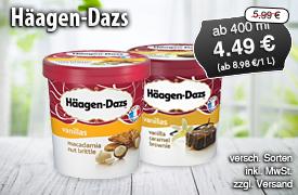 Angebot: Haeagen Dazs Eis, ab 400 g, verschiedene Sorten, Streichpreis 5,98 Euro, Aktionspreis 4,49 Euro, inkl. MwSt., zzgl. Versand - zum Bestellen hier klicken