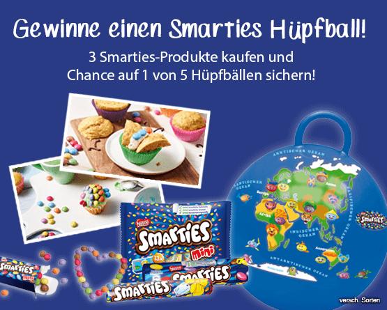 3x Smarties Produkte kaufen und einen von fünf Hüpfbällen gewinen - zum Bestellen hier klicken!