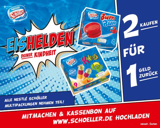 Eishelden deiner Kindheit! Kaufe 2 Schöller Multipackungen und bekomme 1x Kaufpreis erstattet, inkl. MwSt., zzgl. Versand - zum Bestellen hier klicken