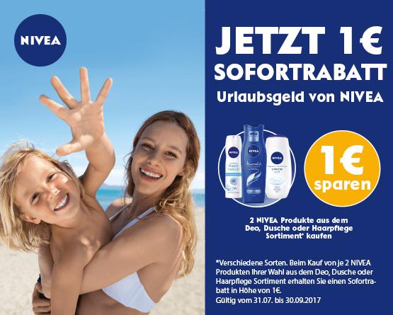 Kaufen Sie 2 Nivea Produkte aus den Bereichen Deo, Dusche, Haare und Sie erhalten 1 Euro Sofortrabatt - zum Bestellen hier klicken