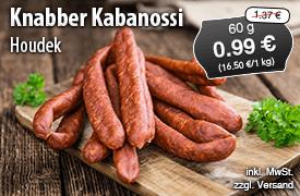 Angebot: Houdek Knabber Kabanossi, 60g, Streichpreis 1,37 Euro, Angebotspreis 0,99 Euro, zzgl. Versand, inkl. MwSt. - zum Bestellen hier klicken