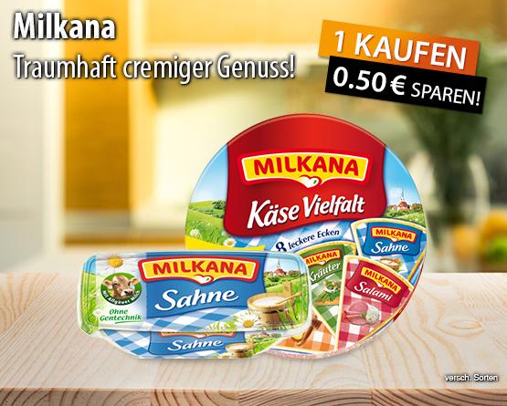 Kaufen Sie ein Milkana Produkt und Sie erhalten 0,50 Euro Sofortrabatt - zum Bestellen hier klicken