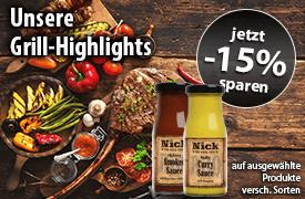 15 Prozent Rabatt auf unsere Grill Highlights - zum Bestellen hier klicken