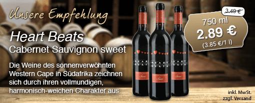 Wein des Monats: Heart Beats Cabernet Sauvignon sweet (750 ml), Streichpreis 3,49 Euro, Aktionspreis 2,89 Euro, inkl. MwSt., zzgl. Versand