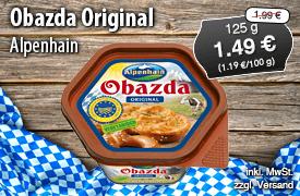 Alpenhain Obazda Original, 125g, Streichpreis: 1,99 Euro, Angebotspreis: 1,49 Euro, inkl. MwSt., zzgl. Versand - zum Bestellen hier klicken!