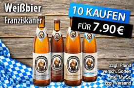 Kaufen Sie 10 Flaschen Franziskaner Weißbier und Sie zahlen nur 7,90 Euro, inkl. MwSt., zzgl. Versand - zum Bestellen hier klicken!
