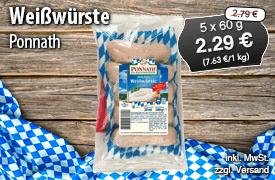 Ponnath Münchner Weißwurst, 5x60g, Streichpreis: 2,79 Euro, Angebotspreis: 2,29 Euro, inkl. MwSt., zzgl. Versand - zum Bestellen hier klicken!