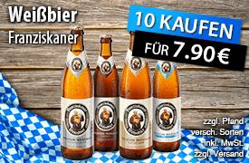 Kaufen Sie 10x Franziskaner Weißbier und Sie zahlen nur 7,90 Euro  - zum Bestellen hier klicken