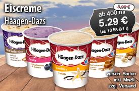 Häagen Dazs Eiscreme, 1l, Streichpreis: 5,99 Euro, Angebotspreis: 5,29 Euro, inkl. MwSt., zzgl. Versand - zum Bestellen hier klicken