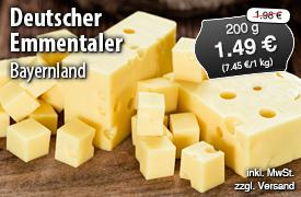 Angebot: Bayernland Deutscher Emmentaler 45% Fett i.Tr., 200g, Streichpreis 1,98 Euro, Angebotspreis 1,49 Euro, zzgl. Versand, inkl. MwSt. - zum Bestellen hier klicken