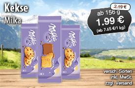 Milka Kekse, ab 86g, Streichpreis: 2,19 Euro, Angebotspreis: 1,99 Euro, inkl. MwSt., zzgl. Versand, versch. Sorten - zum Bestellen hier klicken!
