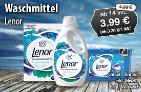Lenor Waschmittel, ab 14 WL, Streichpreis: 4,99 Euro, Angebotspreis: 3,99 Euro, inkl. MwSt., zzgl. Versand - zum Bestellen hier klicken