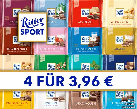 Kaufen Sie 4x Ritter Sport und Sie zahlen nur 3,96 Euro - Zum Bestellen hier klicken!