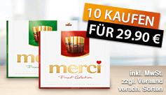 Kaufen Sie 10x Merci Finest Selection und Sie zahlen nur 29,90 Euro - zum Bestellen hier klicken.