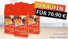 Kaufen Sie 10x Jeden Tag Caffe Crema und zahlen Sie nur 76,90 Euro, inkl. MwSt., zzgl. Versand - zum Bestellen hier klicken.