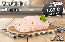 Angebot: Mortadella mit Paprika, 200g Streichpreis 2,18 Euro, Angebotspreis 1,89 Euro, zzgl. Versand, inkl. MwSt. - zum Bestellen hier klicken