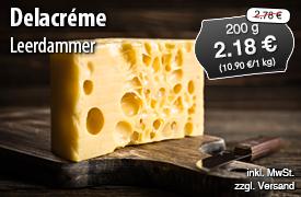 Angebot: Leerdammer Delacreme, 200g Streichpreis 2,78 Euro, Angebotspreis 2,18 Euro, zzgl. Versand, inkl. MwSt. - zum Bestellen hier klicken
