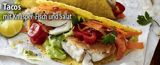 Tacos mit Knusper-Fisch und Salat