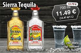 Angebot: Sierra Tequila für 11,49 Euro, Streichpreis 13,79 Euro, versch. Sorten, zzgl. Versandkosten, inkl. MwSt. - zum Bestellen hier klicken