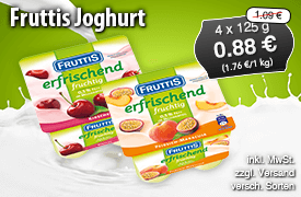 Angebot: Fruttis Joghurt für 0,88 Euro, 4x 125g, Streichpreis 1,09 Euro, inkl.MwSt., zzgl. Versand, versch. Sorten - zum Bestellen hier klicken