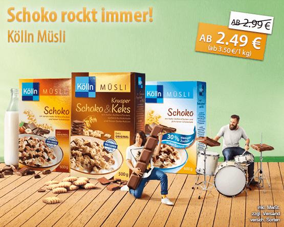 Schoko rockt immer! Alle Kölln Müsli Sorten mit Schoko im Angebot, ab 2,49 Euro, Streichpreis ab 2,99 Euro, inkl. MwSt., zzgl. Versand, versch. Sorten - zum Bestellen hier klicken