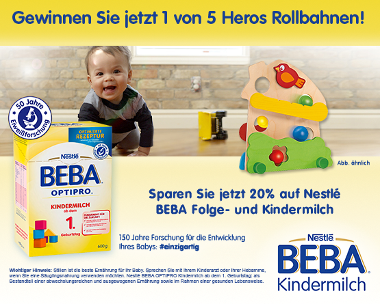 Verlosung: Beba Rollbahnen gewinnen und zusätlich 20% auf Folge- und Kindermilch - zum Mitmachen hier klicken