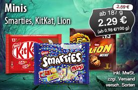 Minis von Smarties, KitKat, Lion für 2,29 Euro, ab 187g, Streichpreis 2,59 Euro, versch. Sorten, inkl. MwSt., zzgl. Versand - zum Bestellen hier klicken