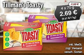 Angebot: Schneller Genuss Tillman´s Toasty für 2,69 Euro, 4x 70g, Streichpreis 2,99 Euro, versch. Sorten, zzgl. Versandkosten, inkl. MwSt. - zum Bestellen hier klicken