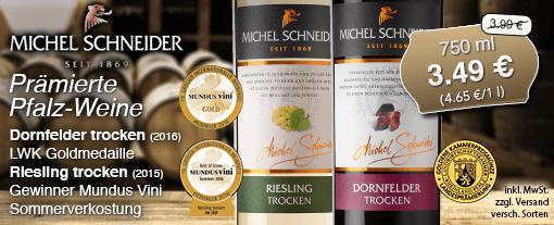 Wein des Monats: Michel Schneider Dornfelder Rotwein trocken (750 ml) oder Michel Schneider Riesling trocken (750 ml), Streichpreis 3,99 Euro, Aktionspreis 3,49 Euro, inkl. MwSt., zzgl. Versand