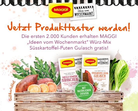 Werden Sie Maggi Produkttester! Die ersten 2000 Kunden erhalten einmal Würzpaste Süßkartoffeln-Puten Gulasch gratis - zum Bestellen hier klicken