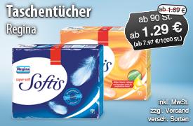 Angebot: Regina SOftis, ab 90St., Angebotspreis: ab 1,29 Euro, 200 ml, Streichpreis ab 1,89 Euro, inkl. MwSt. zzgl. Versaand, versch. Sorten - zum Bestellen hier klicken!