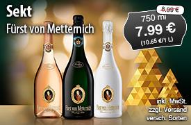 Angebot: Fürst von Metternich Sekt für 7,99 Euro, Streichpreis 8,99 Euro, inkl. MwSt., zzgl. Versand, versch. Sorten - zum Bestellen hier klicken