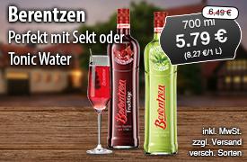 Angebot: Berentzen, 700ml, Angebotspreis: 5,79 Euro, Streichpreis: 6,29 Euro, zzgl. Versand, inkl. MwSt., versch. Sorten - zum Bestellen hier klicken