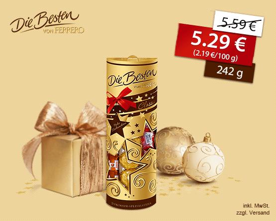 Angebot: Die Besten von Ferrero Geschenk-Packung (242g), Angebotspreis 5,29 Euro, Streichpreis 5,59 Euro, inkl. MwSt, zzgl. Versand - zum Bestellen hier klicken