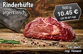 Argentinische Rinderhüfte, 500g 10,45 Euro, zzgl. Versand, inkl. MwSt. - zum Bestellen hier klicken