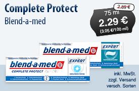 Angebot: Blend-A-Med Complete Protect (75ml), Angebotspreis 2,29 Euro, Streichpreis 2,99 Euro, inkl. MwSt., zzgl. Versand, versch. Sorten - zum Bestellen hier klicken!