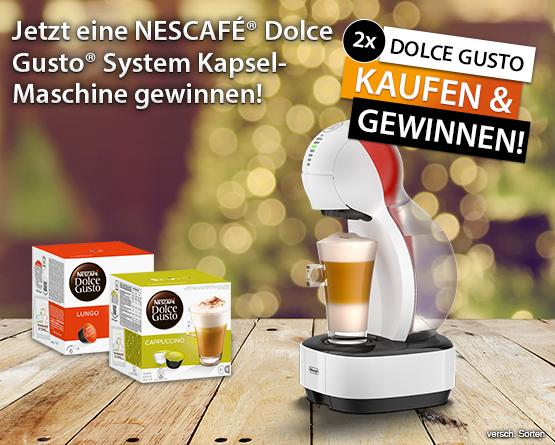 Beantworten Sie unsere Gewinnspielfrage und gewinnen mit etwas Glück 1 von 3 Nescafé Dolce Gusto Kaffeemaschinen - zum Bestellen hier klicken